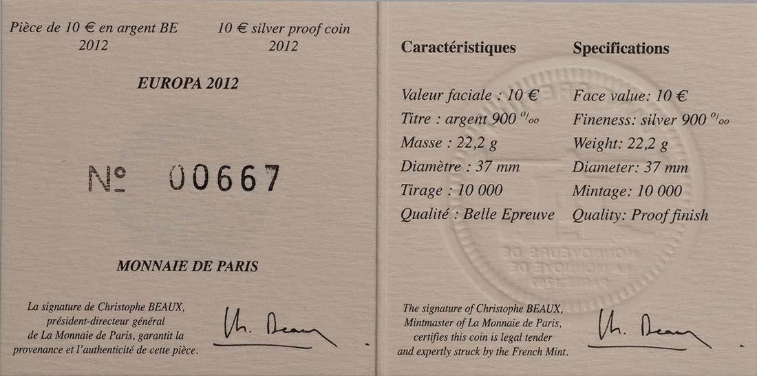 Zertifikat:Frankreich : 10 Euro 20 Jahre Eurokorps  2012 PP