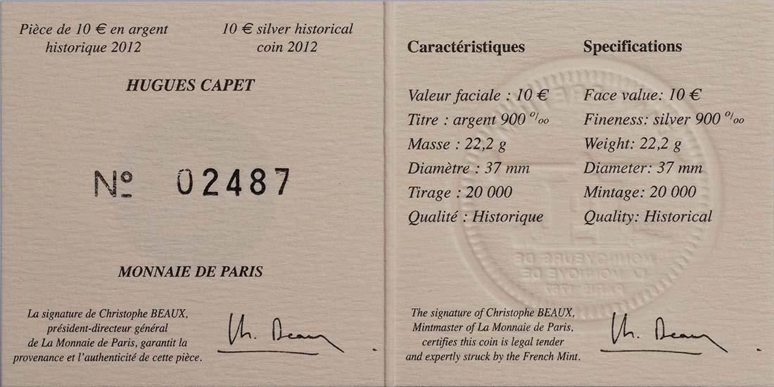 Zertifikat:Frankreich : 10 Euro Hugues Capet  2012 Stgl.
