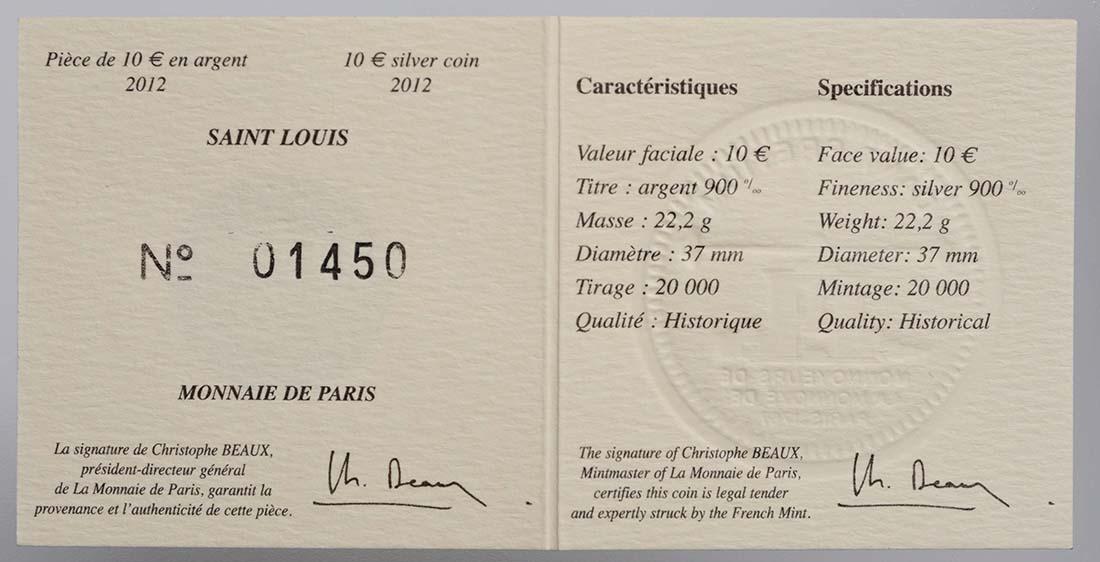 Zertifikat:Frankreich : 10 Euro Saint Louis IX  2012 Stgl.