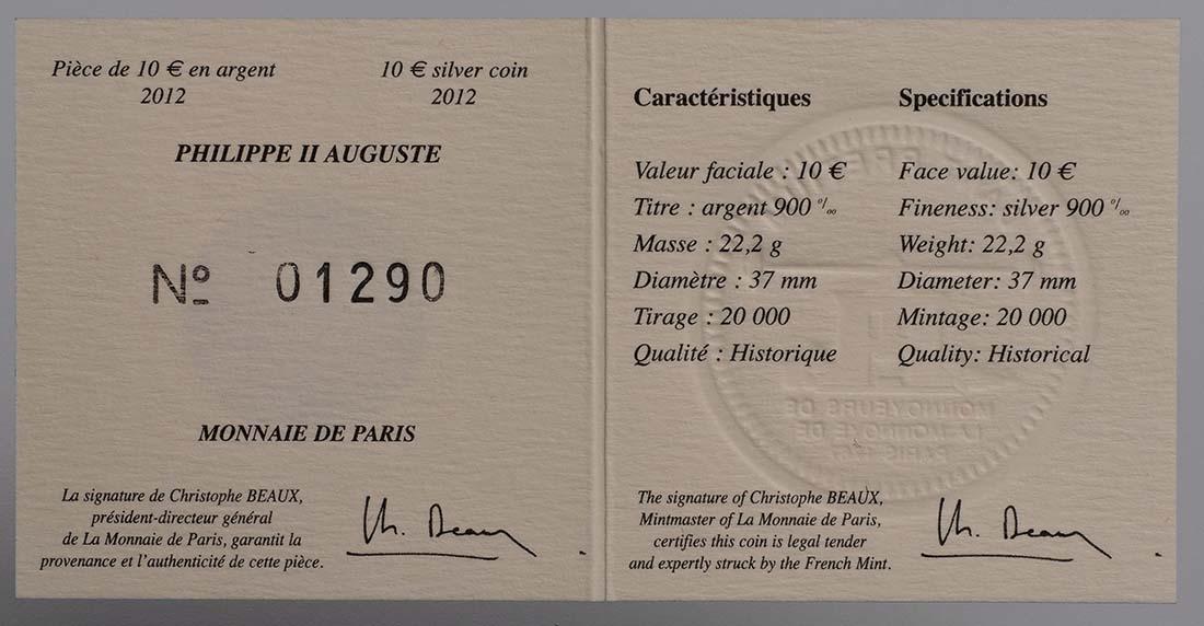 Zertifikat:Frankreich : 10 Euro Philipp II. August  2012 Stgl.