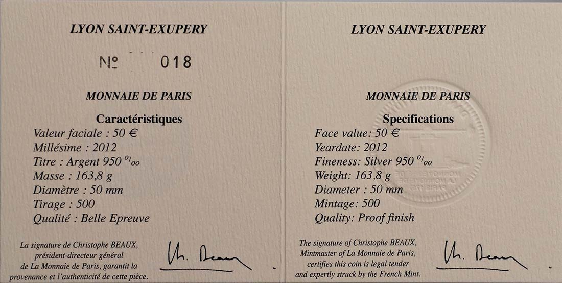 Zertifikat:Frankreich : 50 Euro Lyon St. Exupery  2012 PP