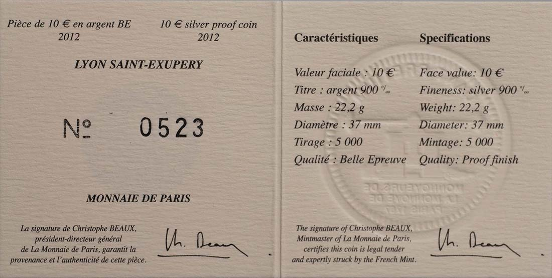 Zertifikat:Frankreich : 10 Euro Lyon St. Exupery  2012 PP