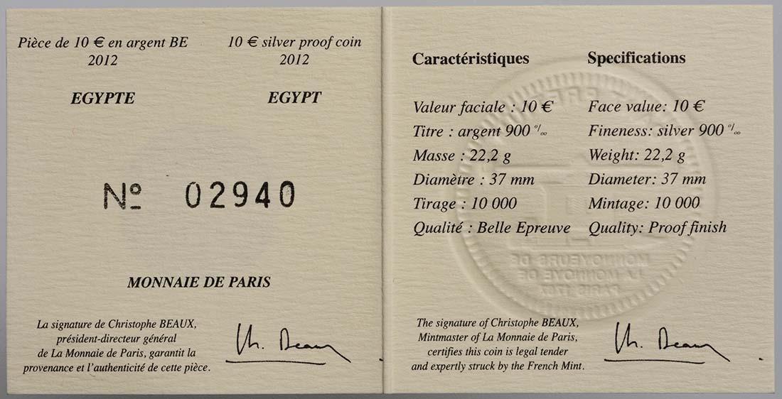 Zertifikat:Frankreich : 10 Euro Pyramide, Sphinx, Abu Simbel  2012 PP