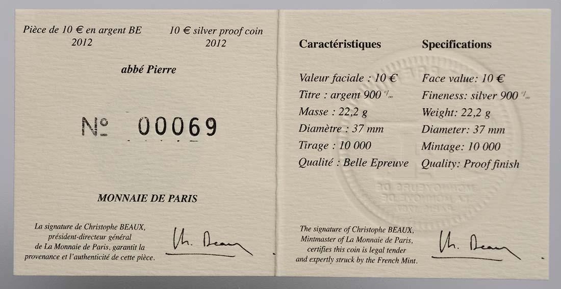 Zertifikat:Frankreich : 10 Euro Abbé Pierre  2012 PP