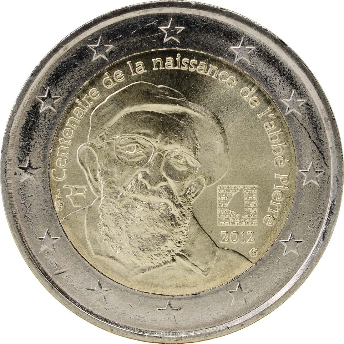 Rückseite:Frankreich : 2 Euro Abbé Pierre  2012 bfr