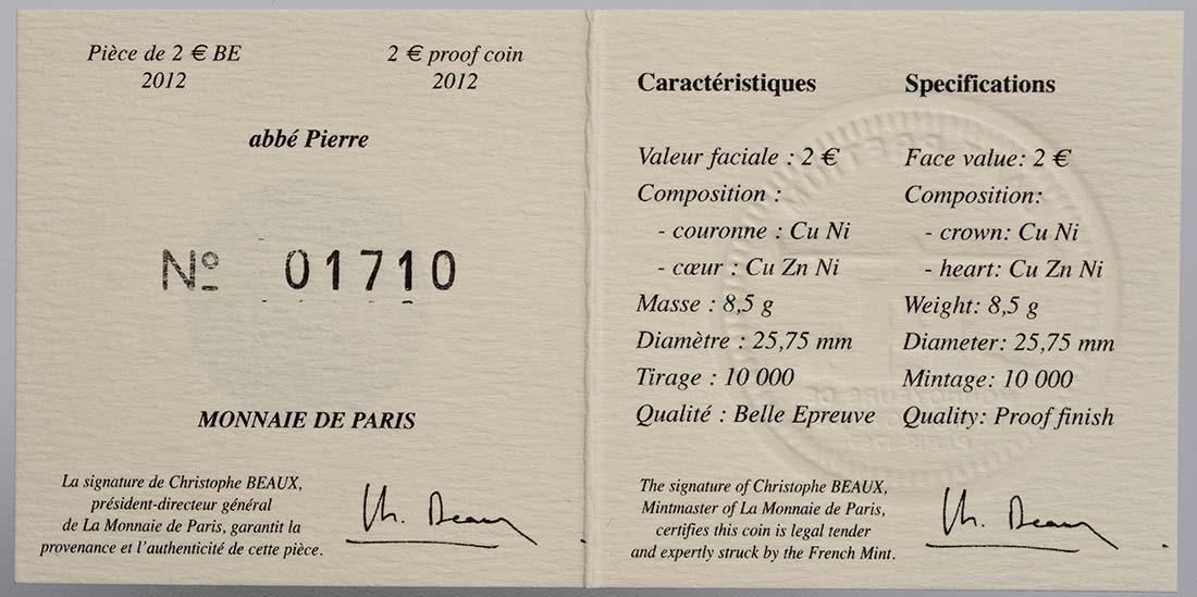 Zertifikat:Frankreich : 2 Euro Abbé Pierre  2012 PP