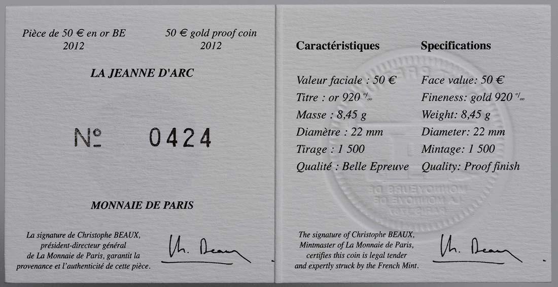 Zertifikat :Frankreich : 50 Euro Jeanne d