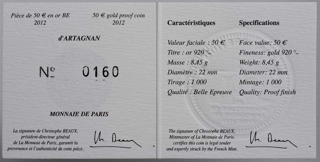 Zertifikat:Frankreich : 50 Euro D'Artagnan  2012 PP