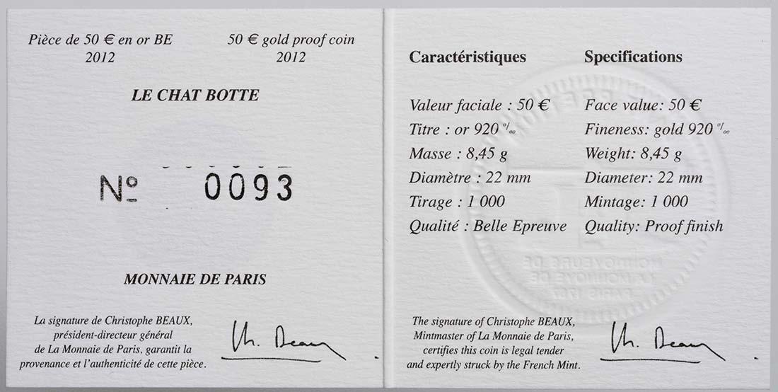 Zertifikat :Frankreich : 50 Euro Gestiefelter Kater  2012 PP