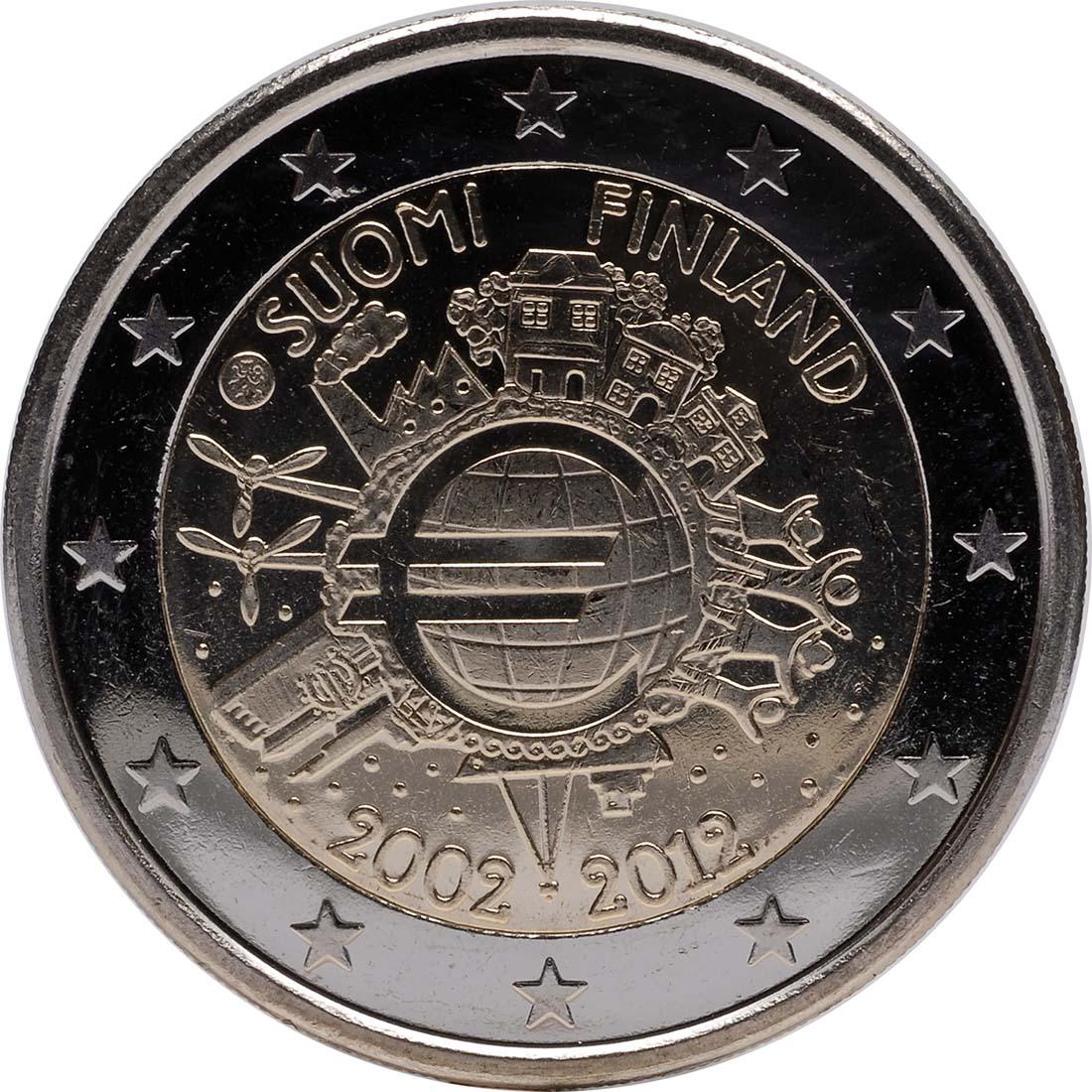 Rückseite :Finnland : 2 Euro 10 Jahre Euro Bargeld  2012 bfr