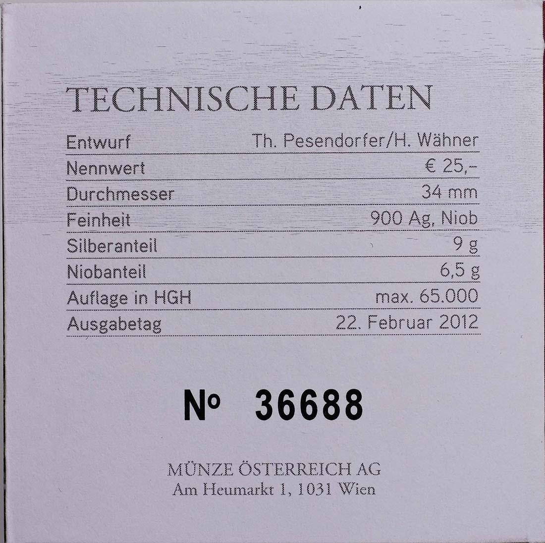 Zertifikat:Österreich : 25 Euro Bionik  2012 Stgl.