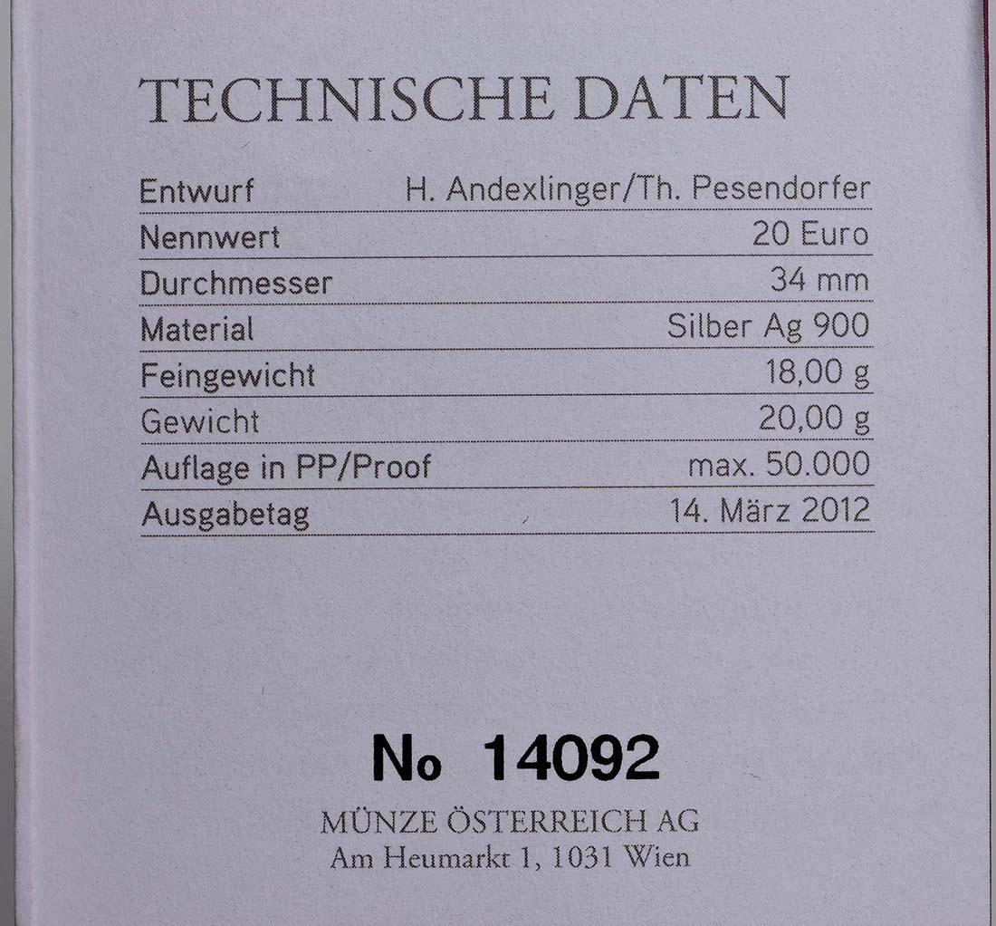 Zertifikat:Österreich : 20 Euro Egon Schiele  2012 PP