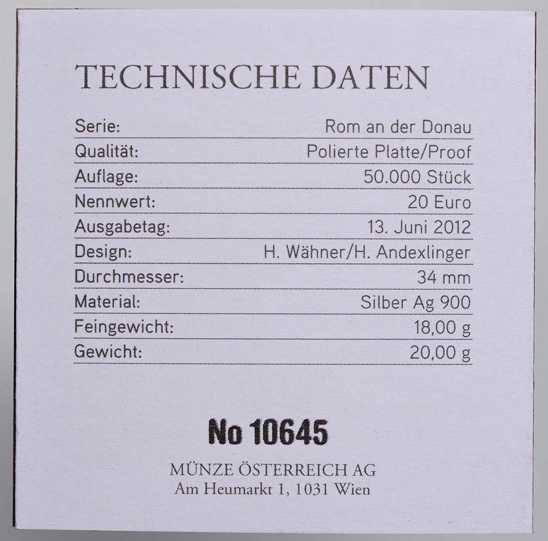 Zertifikat:Österreich : 20 Euro Brigantium  2012 PP