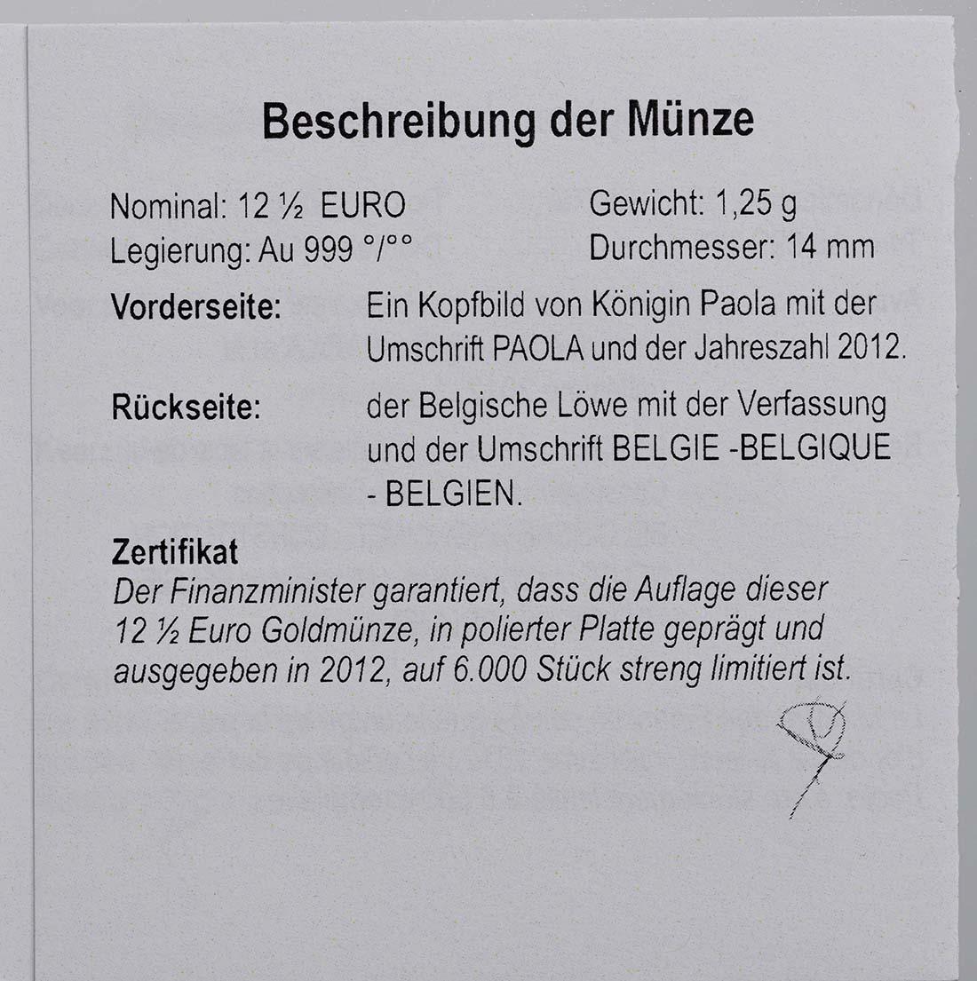Zertifikat:Belgien : 12,5 Euro Königin Paola  2012 PP