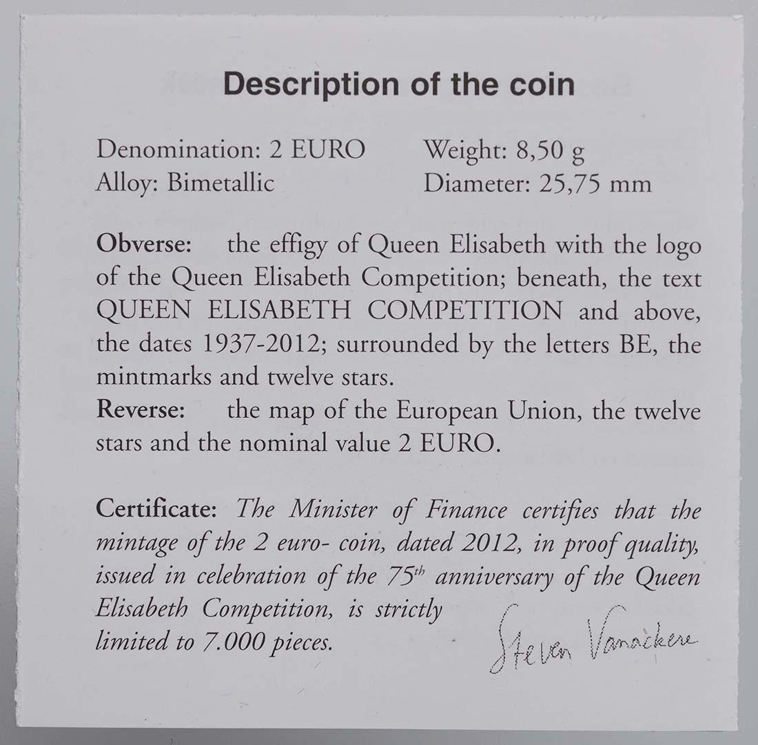 Zertifikat :Belgien : 2 Euro 75 J. Königin-Elisabeth Internationaler Musik Wettbewerb  2012 PP