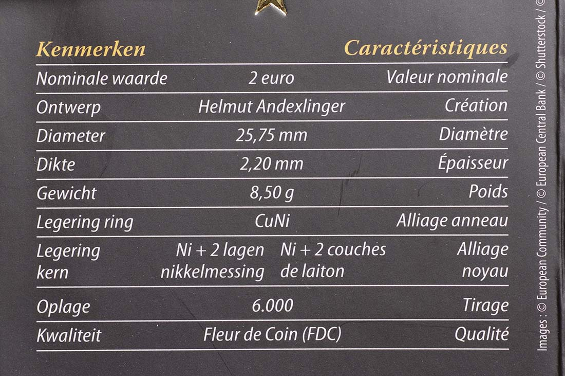 Zertifikat :Belgien : 2 Euro 10 Jahre Euro Bargeld  2012 Stgl.