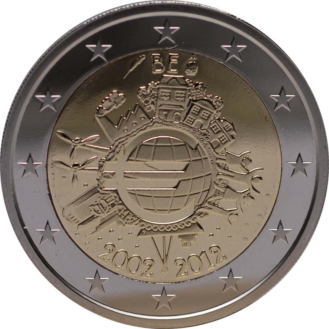 Rückseite :Belgien : 2 Euro 10 Jahre Euro Bargeld  2012 PP
