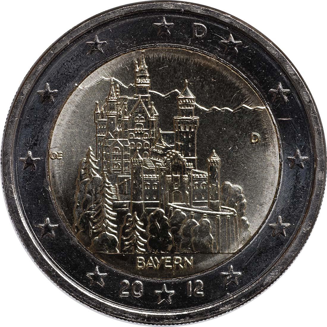 Bild der Rückseite :Deutschland - 2 Euro Schloss Neuschwanstein  2012 bfr