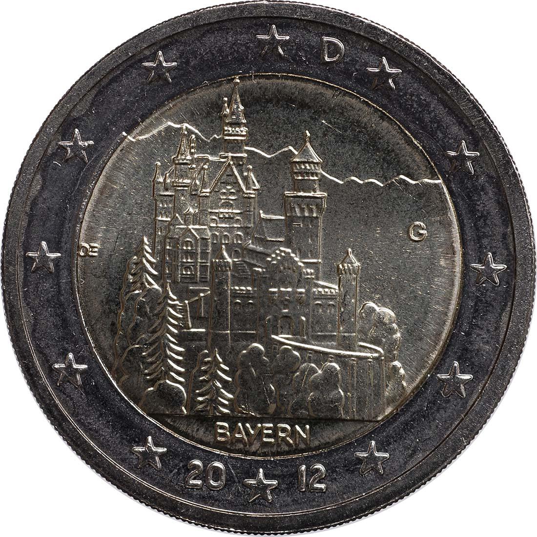 Rückseite:Deutschland : 2 Euro Schloss Neuschwanstein  2012 bfr