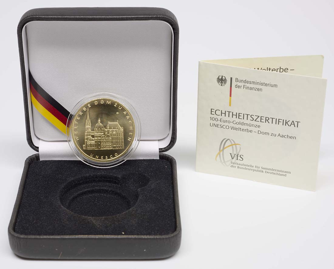 Lieferumfang:Deutschland : 100 Euro Aachener Dom Komplettset A,D,F,G,J 5 Münzen  2012 Stgl.