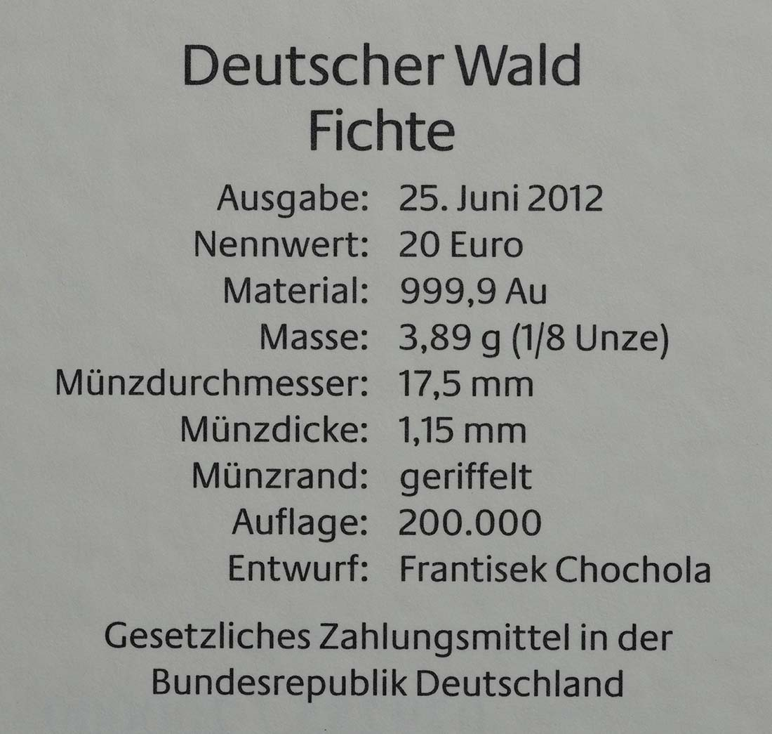 Zertifikat :Deutschland : 20 Euro Fichte Buchstabe unserer Wahl  2012 Stgl.