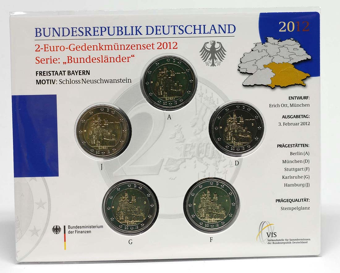 Lieferumfang:Deutschland : 2 Euro Bayern - Schloss Neuschwanstein  Komplettsatz 5x2 Euro  2012 Stgl.