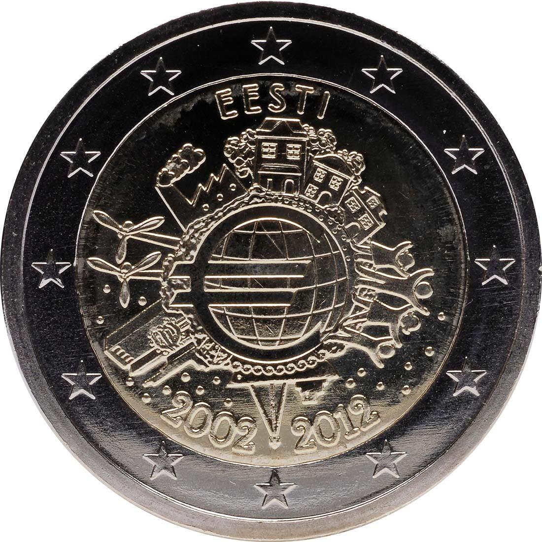 Rückseite:Estland : 2 Euro 10 Jahre Euro Bargeld  2012 bfr