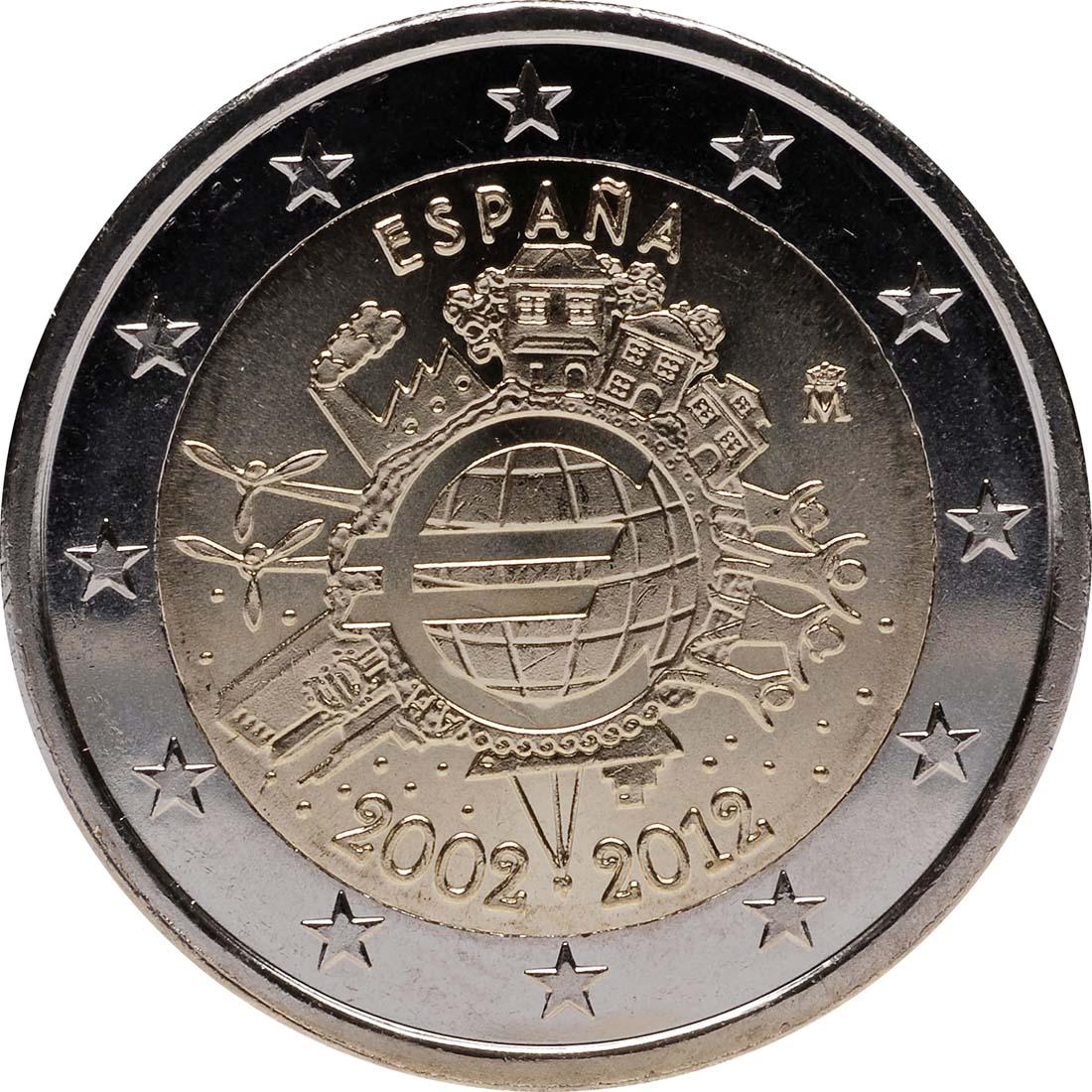 Rückseite :Spanien : 2 Euro 10 Jahre Euro Bargeld  2012 bfr