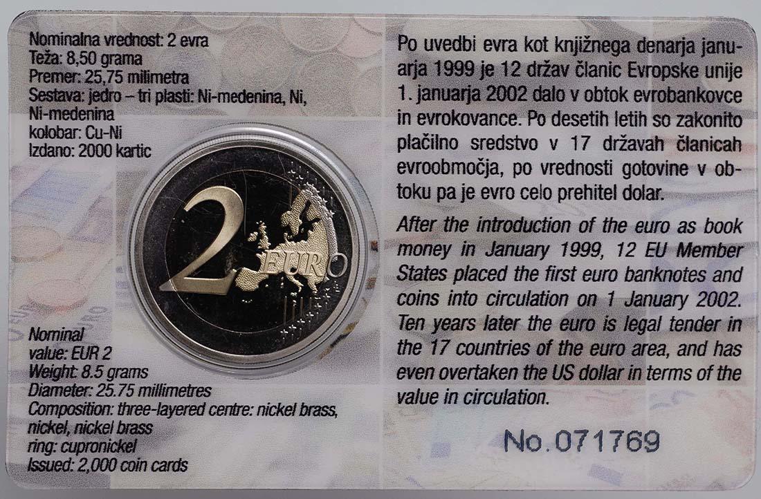 Zertifikat :Slowenien : 2 Euro 10 Jahre Euro Bargeld  2012 PP