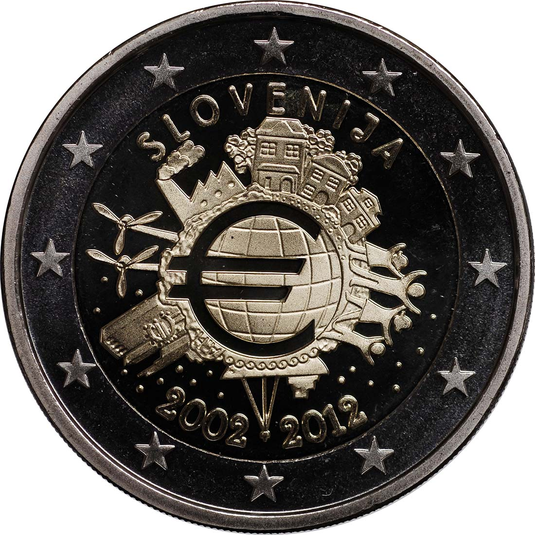 Rückseite :Slowenien : 2 Euro 10 Jahre Euro Bargeld  2012 PP