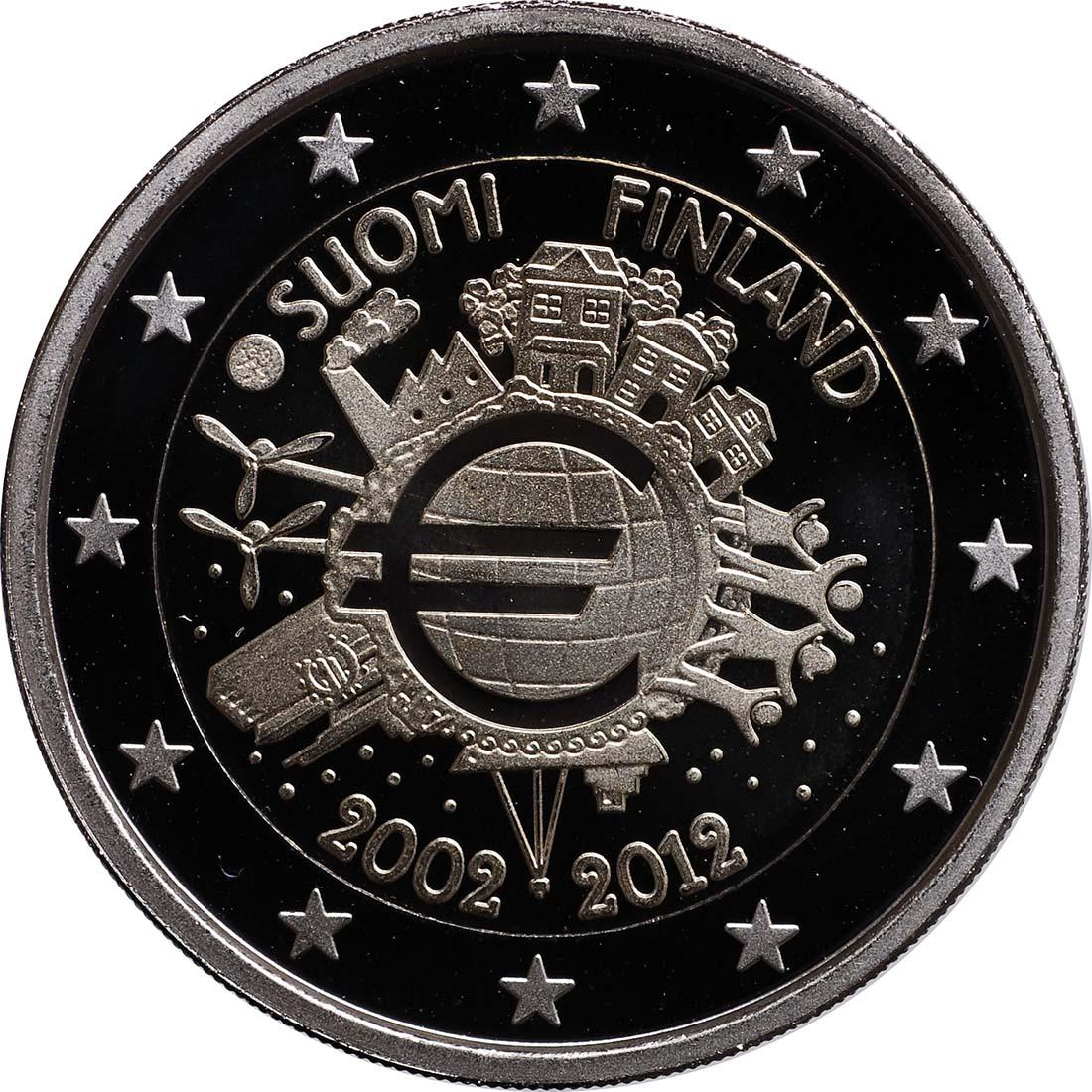 Rückseite:Finnland : 2 Euro 10 Jahre Euro Bargeld  2012 PP