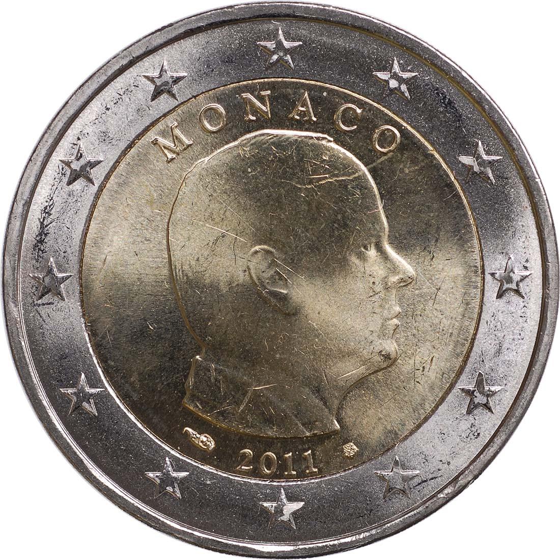 Rückseite:Monaco : 2 Euro Albert  2011 Stgl.