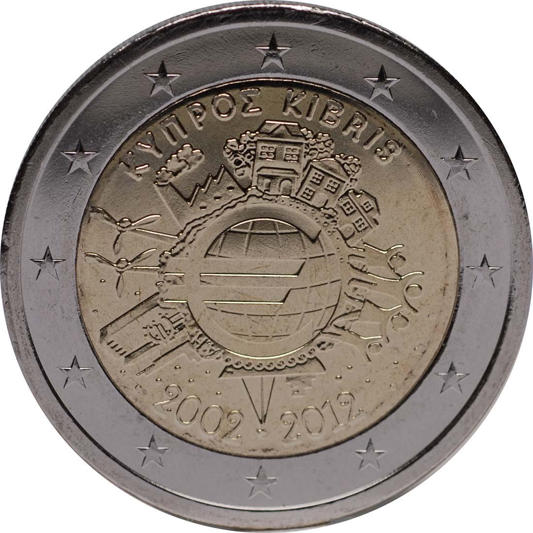 Rückseite :Zypern : 2 Euro 10 Jahre Euro Bargeld  2012 bfr