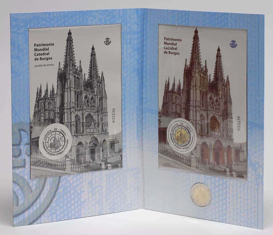 Lieferumfang :Spanien : 2 Euro Burgos + Briefmarken  2012 Stgl.