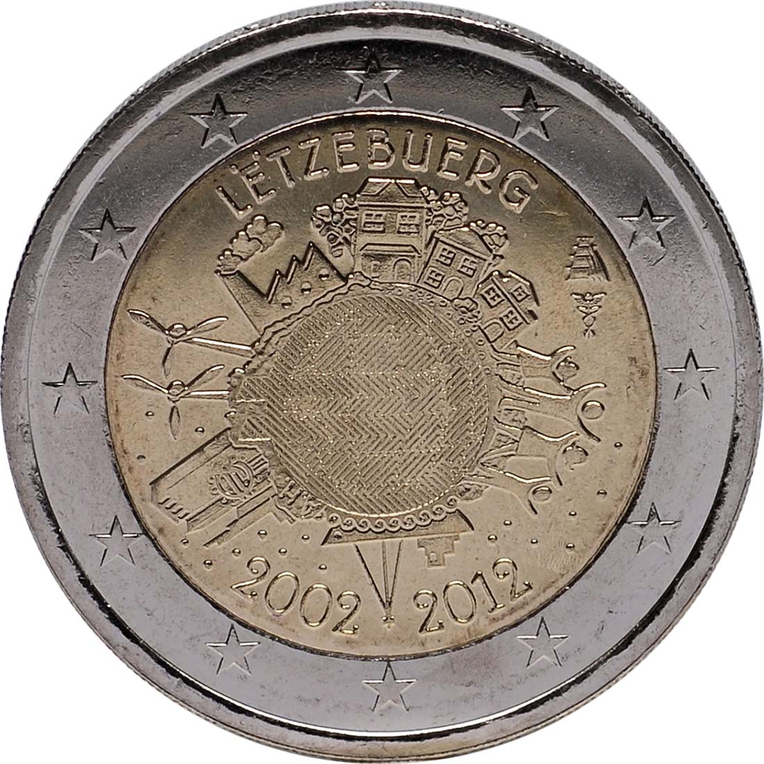 Rückseite :Luxemburg : 2 Euro 10 Jahre Euro Bargeld  2012 bfr