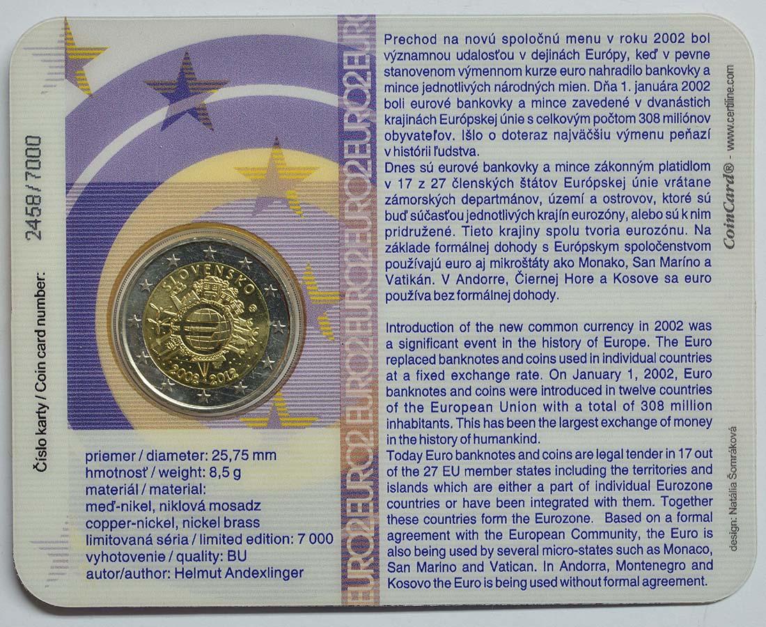Rückseite :Slowakei : 2 Euro 10 Jahre Euro Bargeld  2012 Stgl.