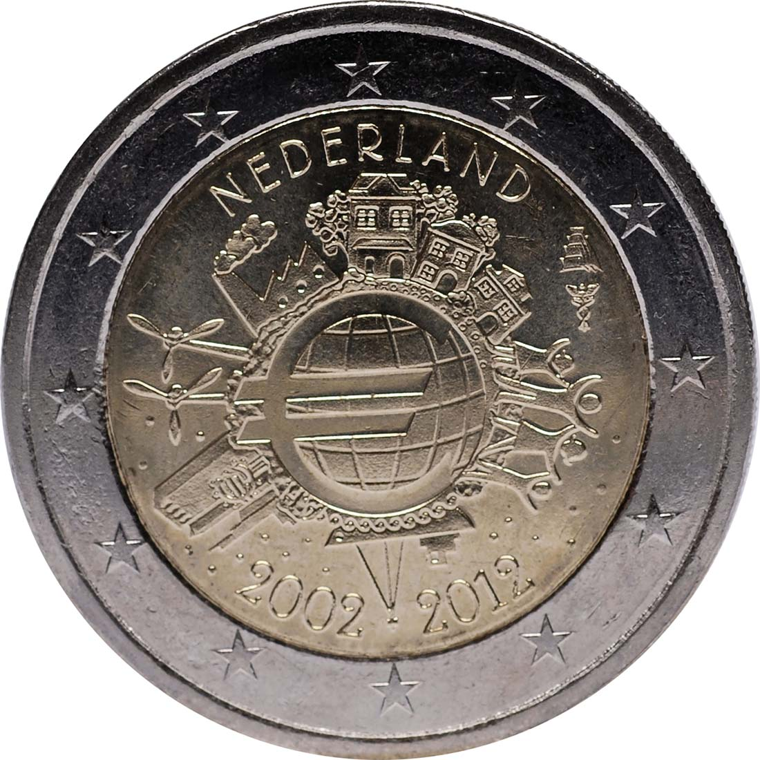 Rückseite :Niederlande : 2 Euro 10 Jahre Euro Bargeld  2012 vz.