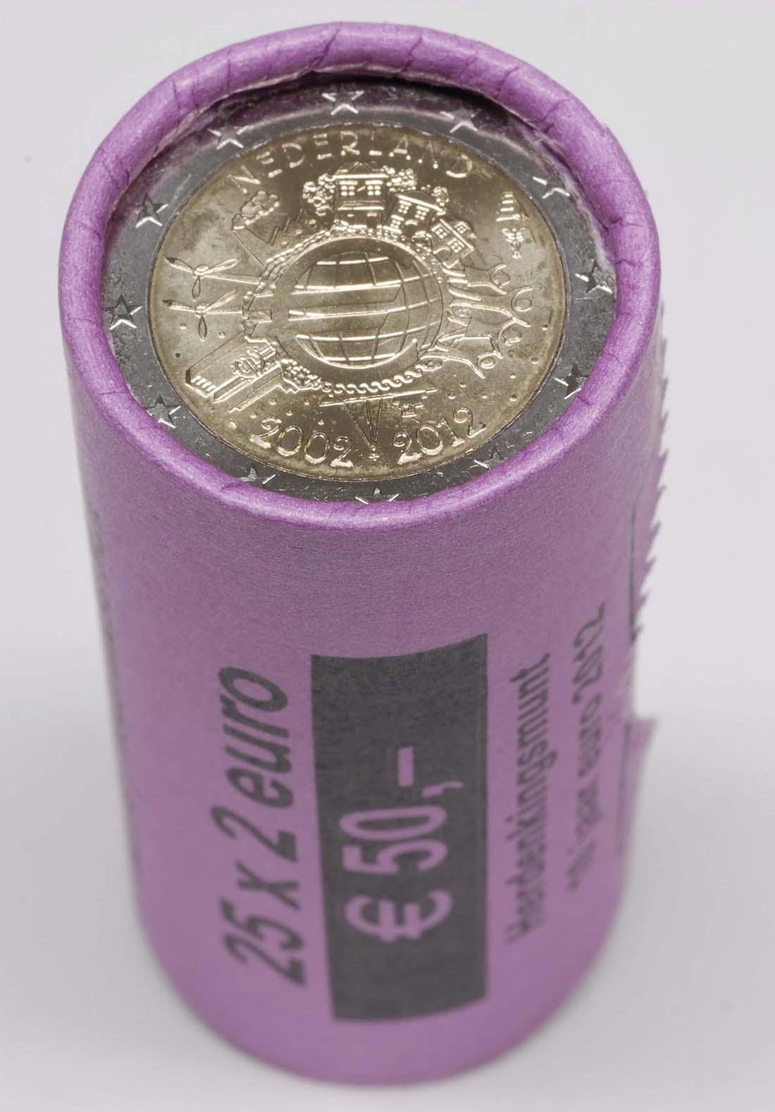Lieferumfang :Niederlande : 2 Euro 25 x 2 Euro Originalrolle 10 Jahre Euro Bargeld  2012 Stgl.