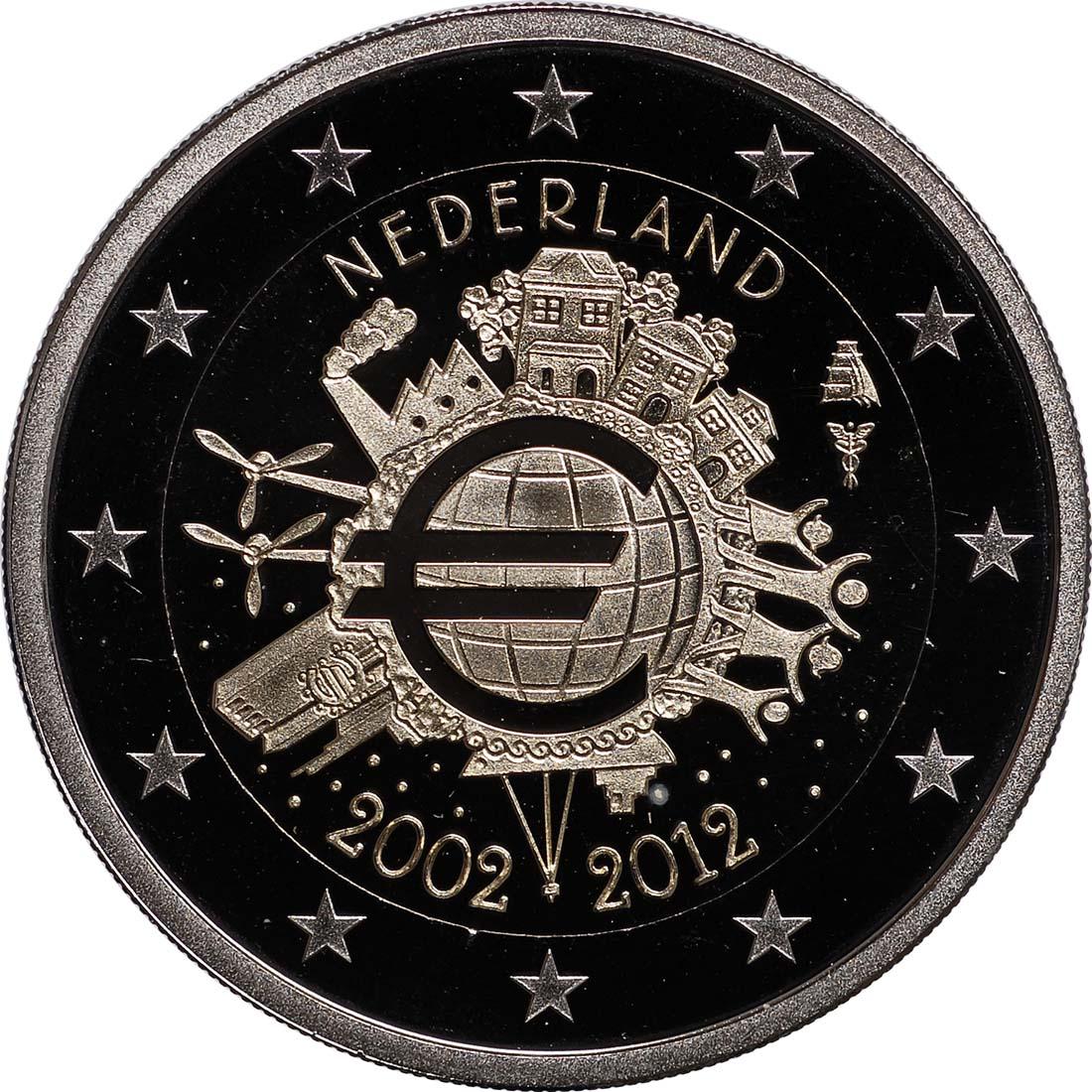 Rückseite:Niederlande : 2 Euro 10 Jahre Euro Bargeld  2012 PP