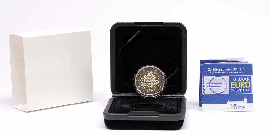 Bild des Lieferumfangs :Niederlande - 2 Euro 10 Jahre Euro Bargeld  2012 PP