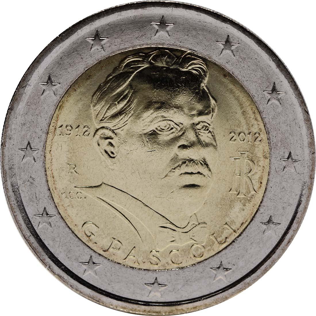 Rückseite :Italien : 2 Euro 100. Todestag Giovanni Pascoli  2012 bfr
