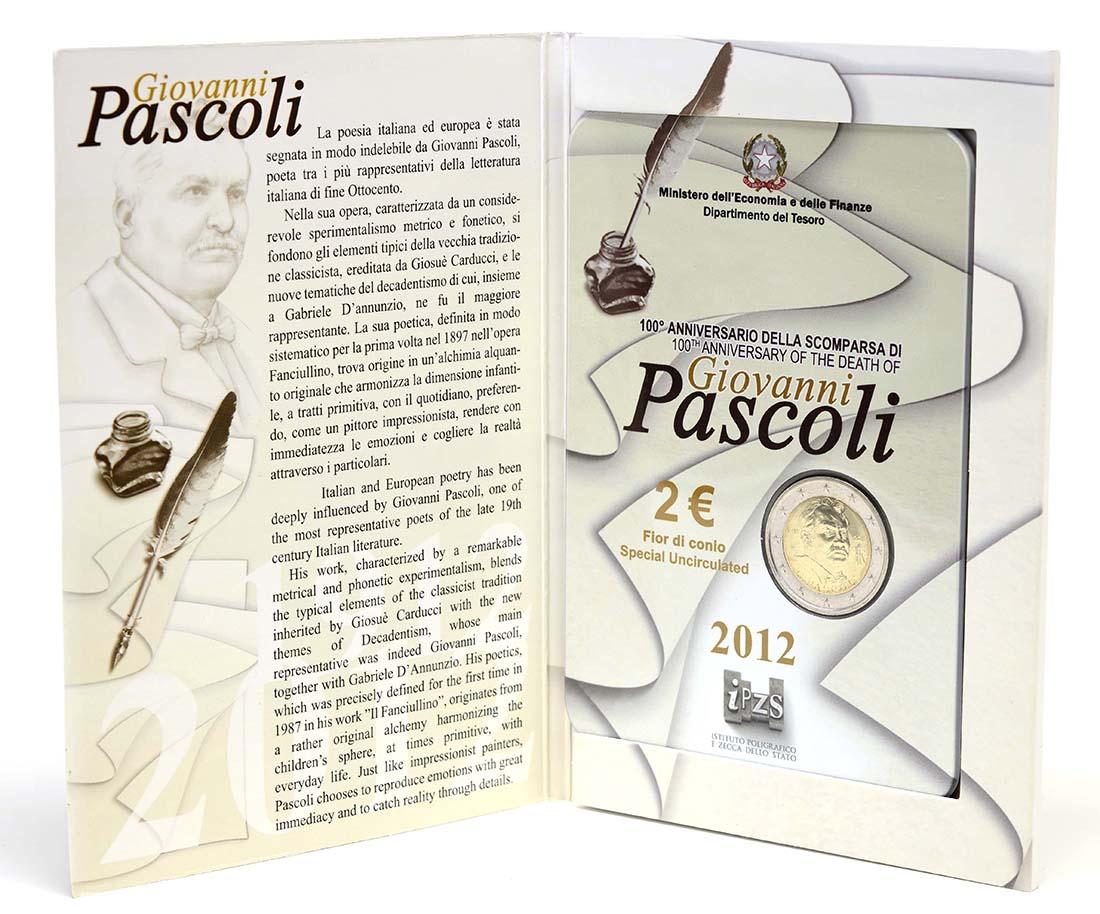 Lieferumfang :Italien : 2 Euro 100. Todestag Giovanni Pascoli  2012 Stgl.