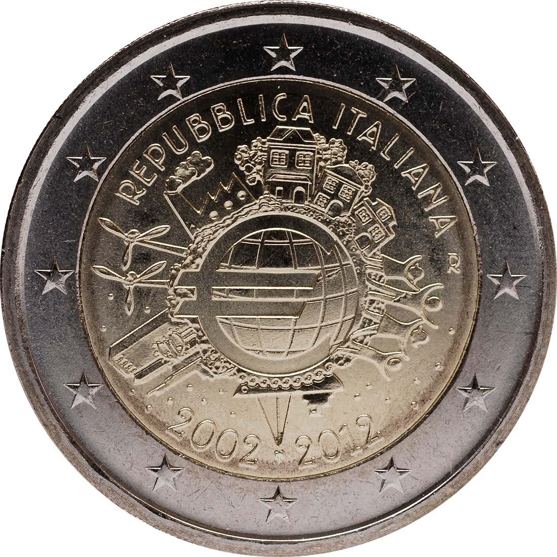 Rückseite:Italien : 2 Euro 10 Jahre Euro Bargeld  2012 bfr