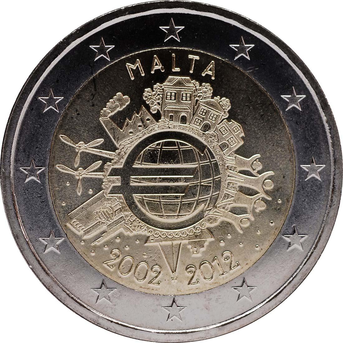 Rückseite:Malta : 2 Euro 10 Jahre Euro Bargeld  2012 bfr