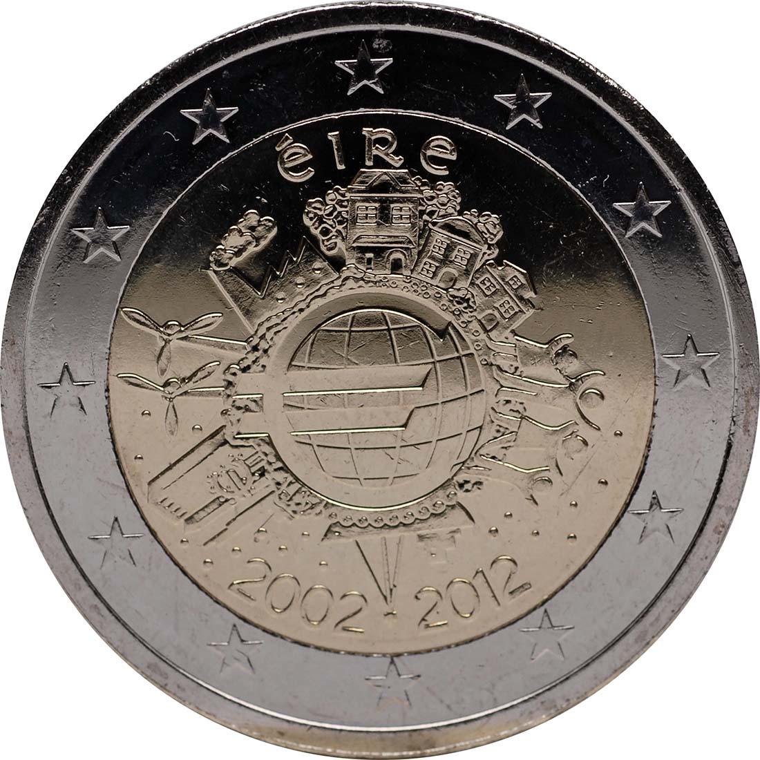 Rückseite:Irland : 2 Euro 10 Jahre Euro Bargeld  2012 bfr