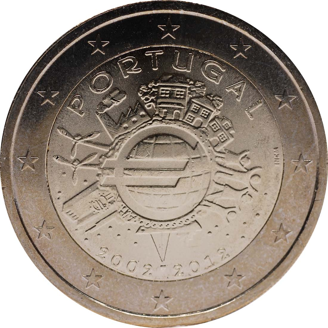 Rückseite:Portugal : 2 Euro 10 Jahre Euro Bargeld  2012 bfr