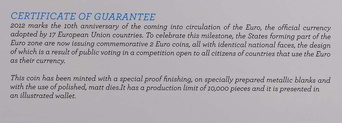 Zertifikat:Portugal : 2 Euro 10 Jahre Euro Bargeld  2012 PP