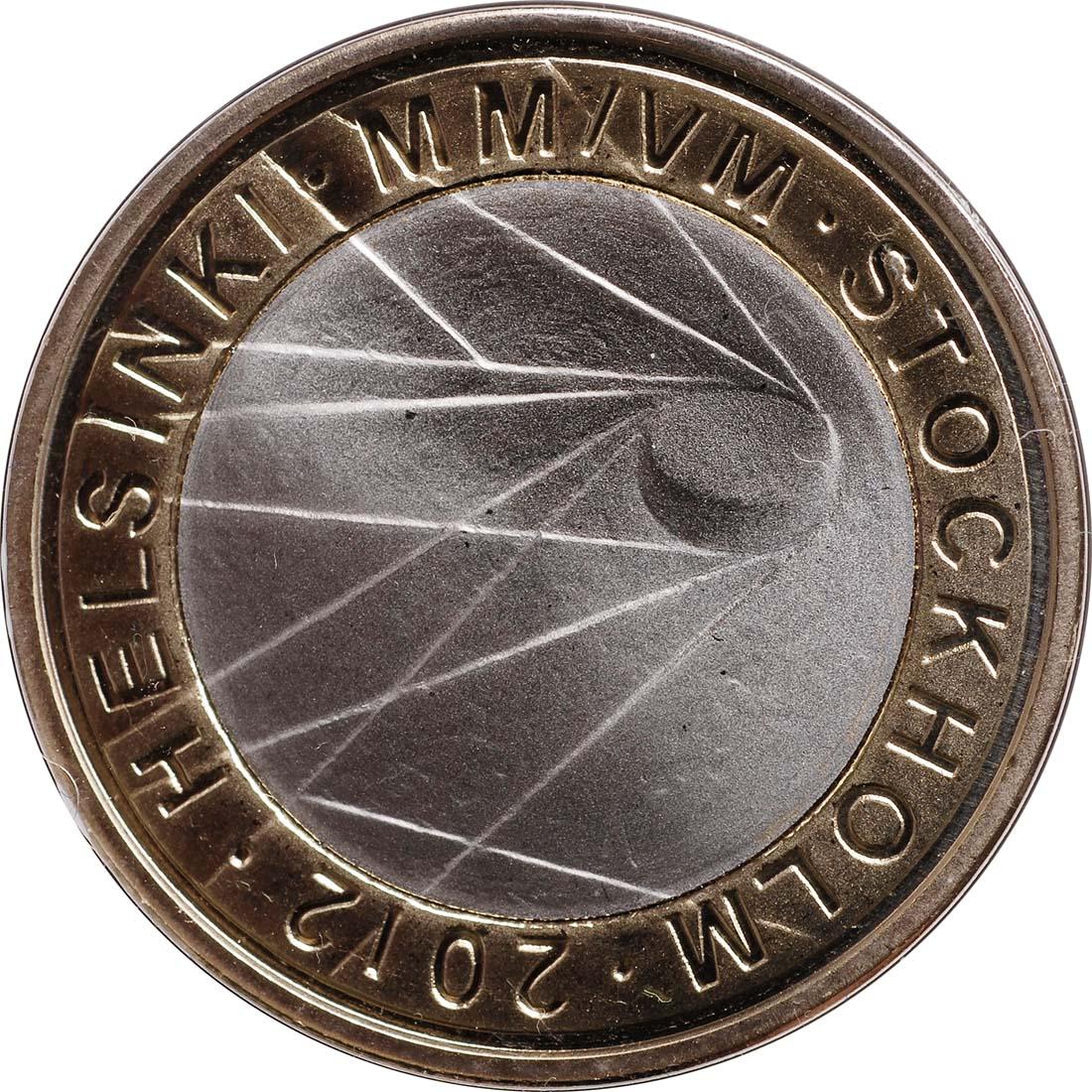 Rückseite:Finnland : 5 Euro Eishockey WM IIHF  2012 PP
