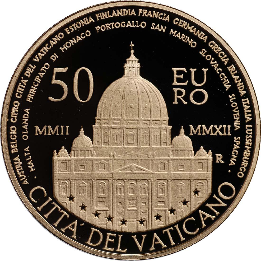 Rückseite:Vatikan : 53,88 Euro KMS Vatikan 2012 inkl. 50 Euro Goldmünze  2012 PP