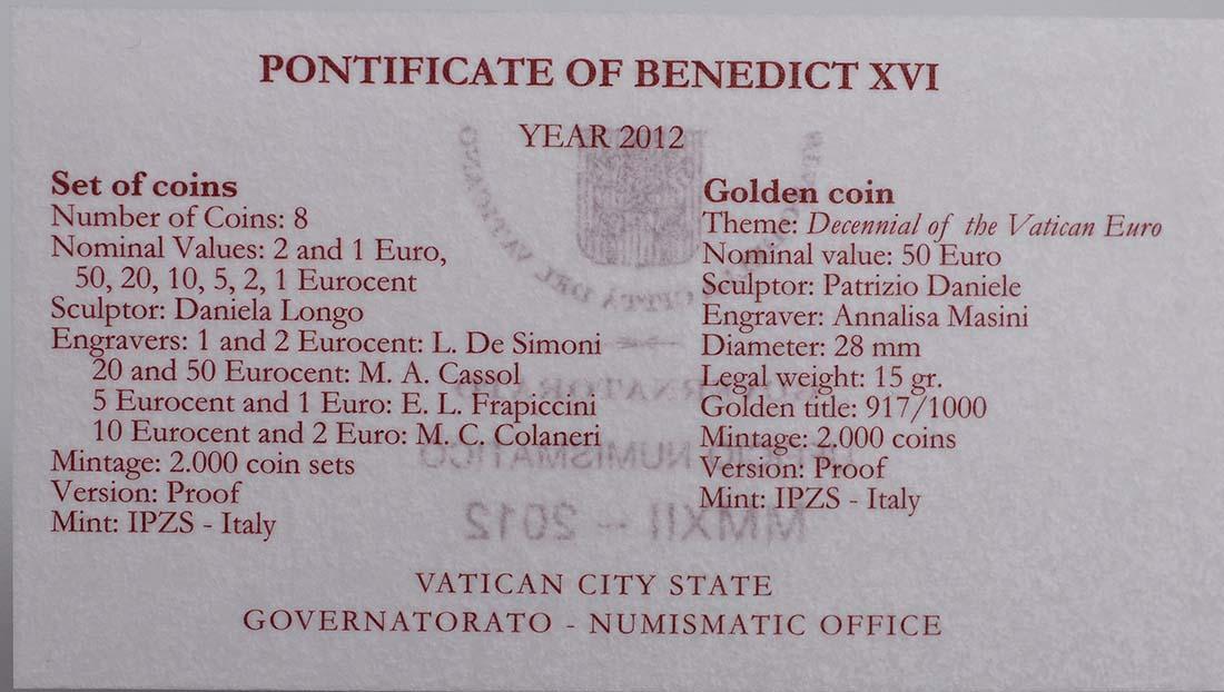 Zertifikat:Vatikan : 53,88 Euro KMS Vatikan 2012 inkl. 50 Euro Goldmünze  2012 PP